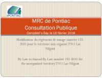 Présentation de la modification au règlement de zonage numéro 155-2010
