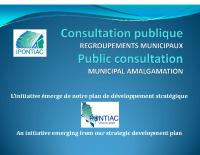 Présentation de la consultation publique sur le regroupement municipal
