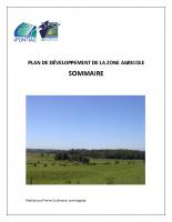 Plan de développement de la zone agricole (PDZA) – Sommaire